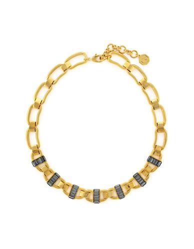 LOUISE ET CIEGold Tone and Black Baguette Collar Necklace