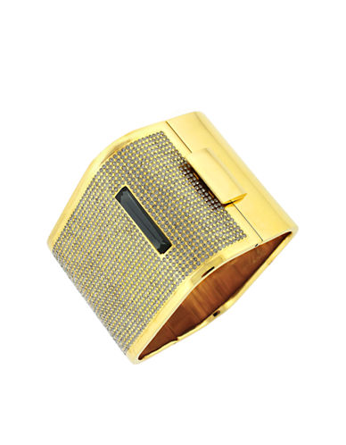 LOUISE ET CIE Gold-Tone and Black Glitz Square Bangle Bracelet