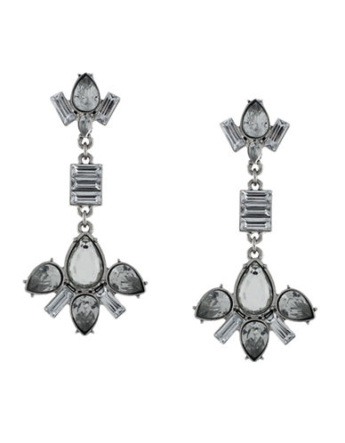 BCBGENERATION Silver-Tone and Mixed Stone Cluster Drop Earrings