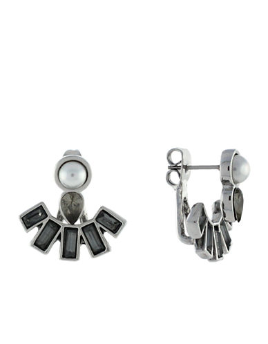 BCBGENERATION Faux Pearl Fan Jacket Earrings