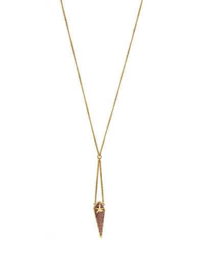 Bcbgeneration Gold-Tone and Pink Glitz Pyramid Pendant Necklace