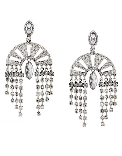 Bcbgeneration Silver-Tone and Glitz Drama Drop Earrings