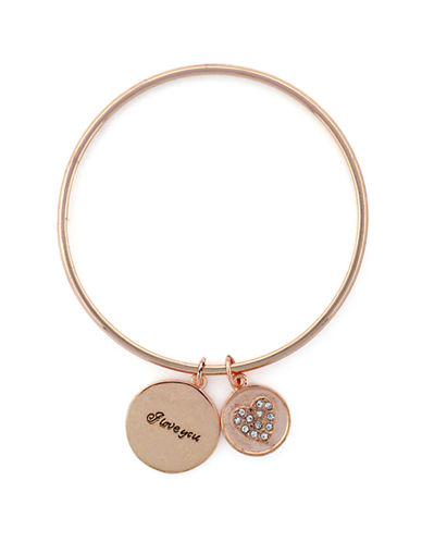 BCBGENERATION Rose Gold-Tone Heart Charm Bracelet