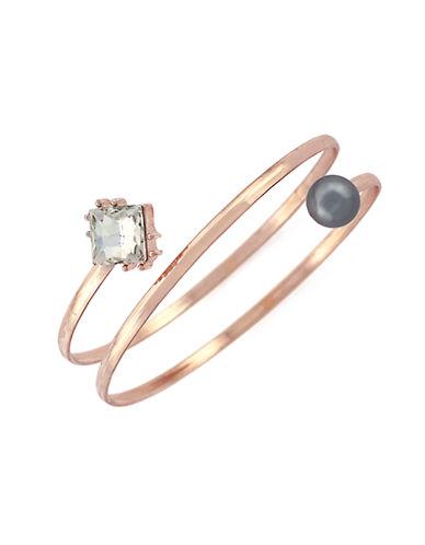BCBGENERATIONFaux Diamond and Faux Black Pearl Coil Bangle Bracelet