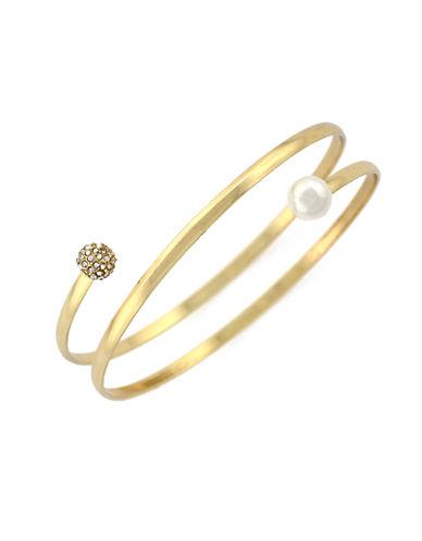 BCBGENERATIONFaux Diamond Sphere and Faux Pearl Coil Bangle Bracelet