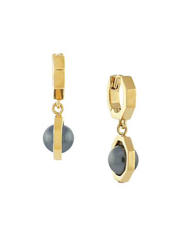 LOUISE ET CIE Gold-Plated Glass Pearl Drop Earrings