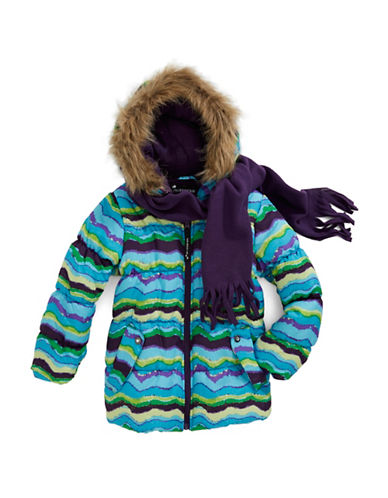 ROTHSCHILDGirls 2-6x Funky Striped Puffer Coat