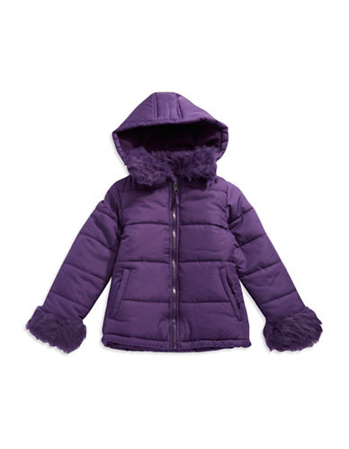 ROTHSCHILD Girls 7-16 Quilted Faux Fur Puffer Coat