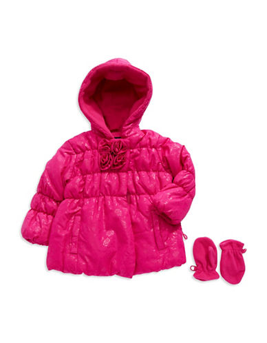 ROTHSCHILDBaby Girls Rosette Puffer Coat with Mittens