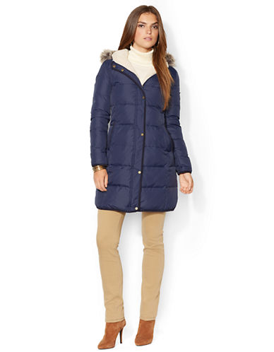 LAUREN RALPH LAUREN Heavy Down Berber Lined Long Coat