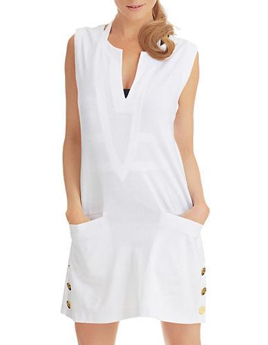 Shop Lauren Ralph Lauren online and buy Lauren Ralph Lauren Split Neck Button Hem Swim Cover Up dress online