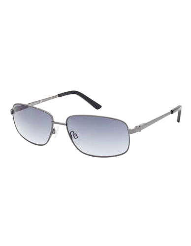 KENNETH COLE NEW YORK Shiny Gunmetal Square Frame Sunglasses