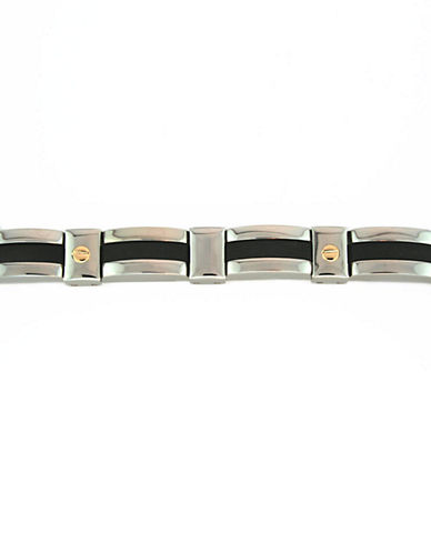 LORD & TAYLOR Mens Bracelet in Stainless Steel, Enamel and 14 Kt Yellow Gold