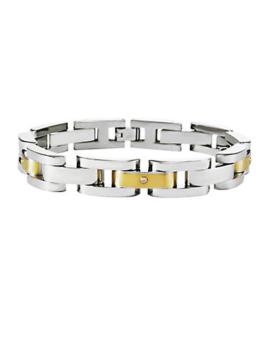 Men's Stainless Steel and 14 Kt. Yellow Gold Bracelet with Diamond Accents