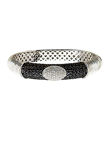 LORD & TAYLOR Sterling Silver Black Sapphire and Diamond Bracelet