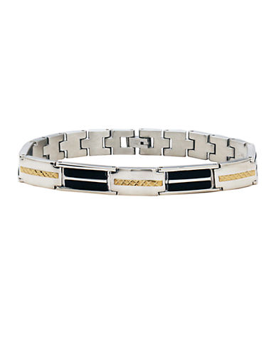 LORD & TAYLOR Men's Stainless Steel and Onyx Bracelet