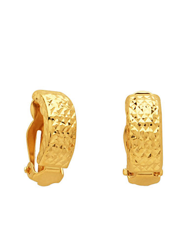 LORD & TAYLOR 14 Kt. Yellow Gold Textured Huggie Earrings