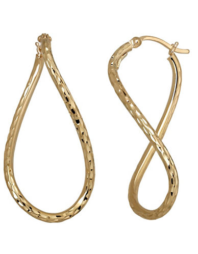 LORD & TAYLOR14 Kt. Yellow Gold Textured Hoop Earrings
