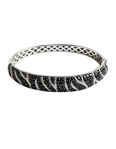 LORD & TAYLOR Cubic Zirconia & Stainless Steel Bangle Bracelet