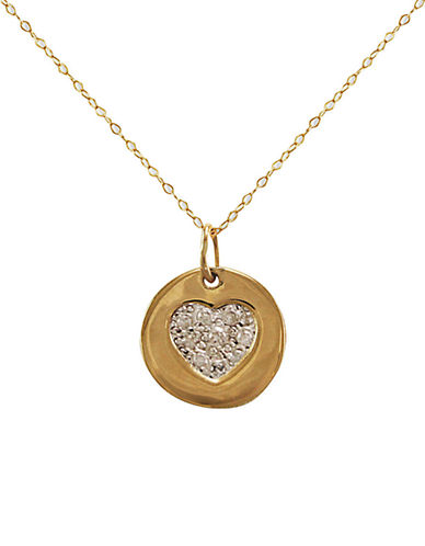LORD & TAYLOR14 Kt Gold Diamond Heart Pendant Necklace