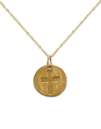 LORD & TAYLOR 14 Kt Gold Cut Out Cross Pendant Necklace