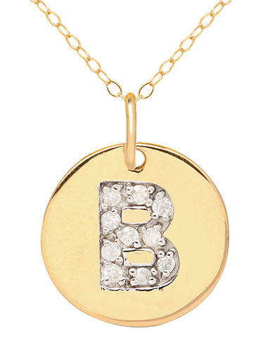 LORD & TAYLOR 14 Kt. Yellow Gold and Diamond B Pendant Necklace