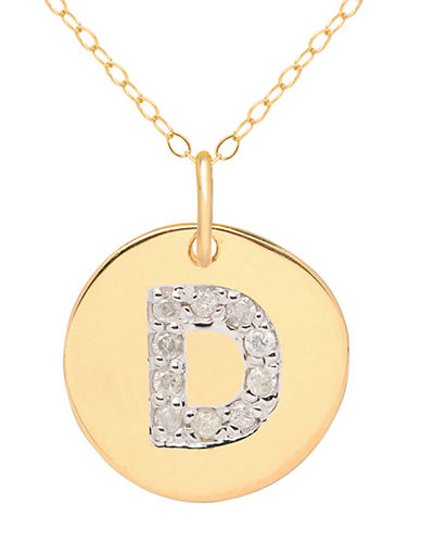 LORD & TAYLOR 14 Kt Yellow Gold and Diamond D Pendant Necklace