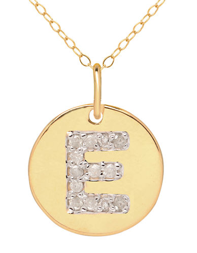 LORD & TAYLOR 14 Kt. Yellow Gold and Diamond E Pendant Necklace