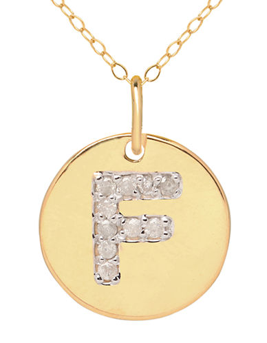 LORD & TAYLOR 14 Kt. Yellow Gold and Diamond F Pendant Necklace