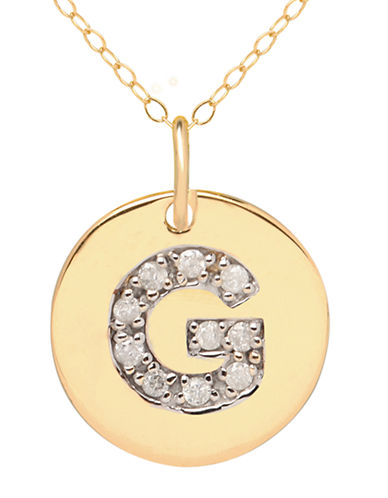 LORD & TAYLOR 14 Kt. Yellow Gold and Diamond G Pendant Necklace
