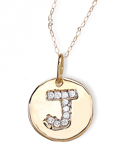 LORD & TAYLOR 14 Kt. Gold Diamond Initial J Pendant Necklace