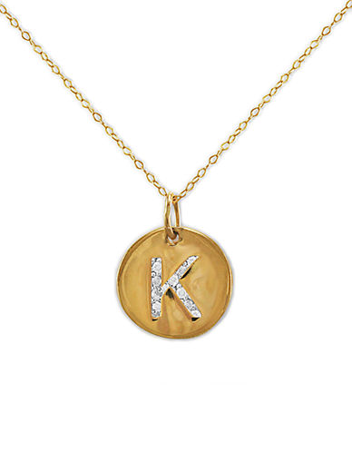 LORD & TAYLOR 14 Kt. Gold Diamond Initial K Pendant Necklace