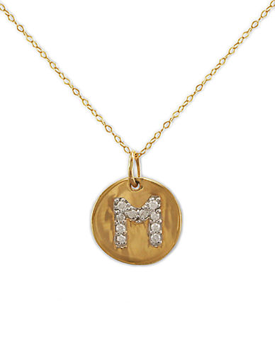 LORD & TAYLOR 14 Kt. Gold Diamond Initial M Pendant Necklace