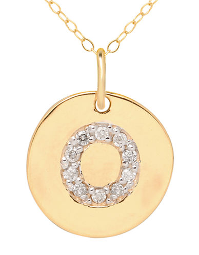 LORD & TAYLOR 14 Kt. Yellow Gold and Diamond O Pendant Necklace