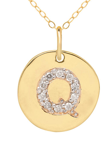 LORD & TAYLOR 14 Kt. Yellow Gold and Diamond Q Pendant Necklace