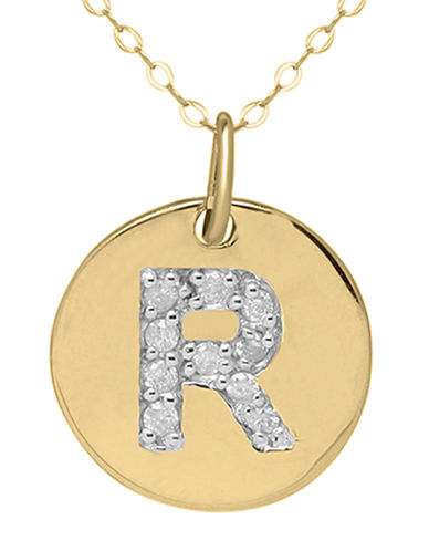 LORD & TAYLOR 14 Kt. Yellow Gold and Diamond R Pendant Necklace