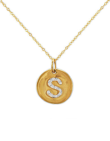 LORD & TAYLOR 14 Kt. Gold Diamond Initial S Pendant Necklace