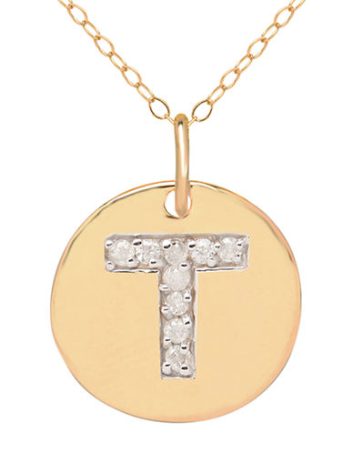 LORD & TAYLOR 14 Kt. Yellow Gold and Diamond T Pendant Necklace