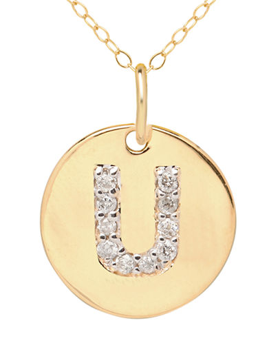 LORD & TAYLOR 14 Kt. Yellow Gold and Diamond U Pendant Necklace