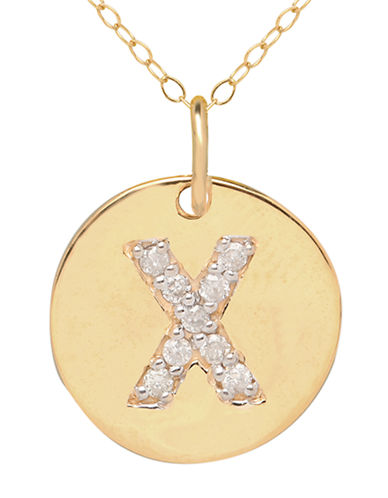 LORD & TAYLOR 14 Kt. Yellow Gold and Diamond X Pendant Necklace