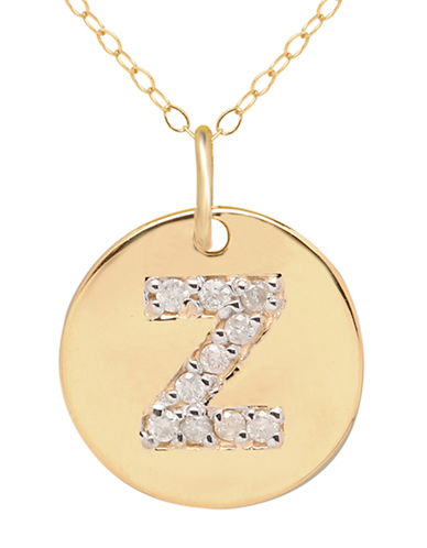 LORD & TAYLOR 14 Kt. Yellow Gold and Diamond Z Pendant Necklace
