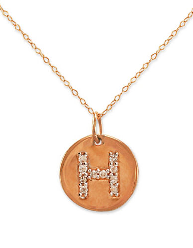 14 Kt. Rose Gold with Diamond-Accented H Necklace