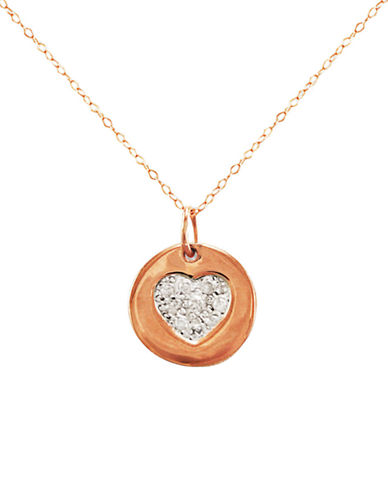LORD & TAYLOR 14 Kt. Rose Gold and Diamond Heart Pendant