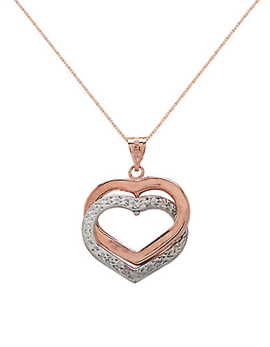 LORD & TAYLOR 14 Kt. White and Rose Gold Double Heart Pendant