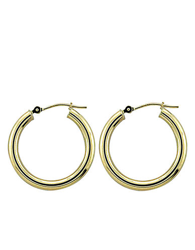 LORD & TAYLOR14 Kt Yellow Gold Polished Hoop Earrings