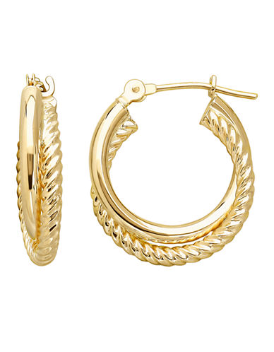 LORD & TAYLOR14 Kt Yellow Gold Hoop Earrings