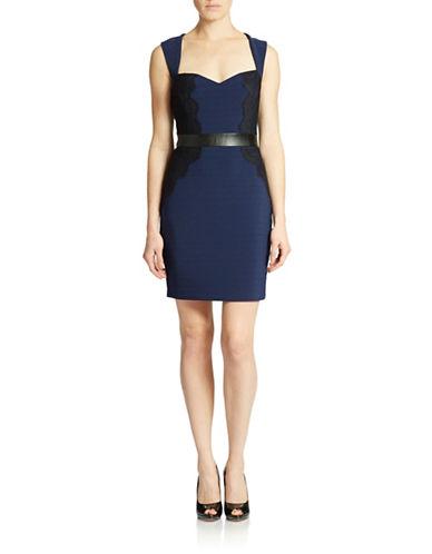 GUESSFaux-Leather Trim Lace Dress