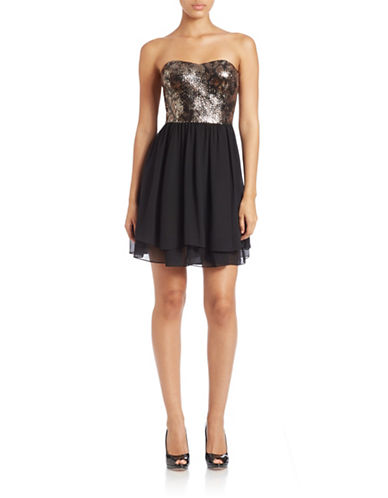 GUESSSnakeskin Sequin Fit and Flare Dress