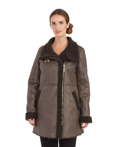 ELLEN TRACY Faux Sherling Walker Jacket