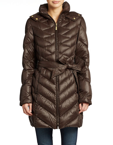 ELLEN TRACY Packable Hooded Down Coat